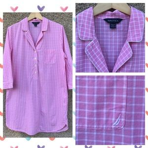 Nautica Preppy Cotton Sleep Shirt Night Pajamas